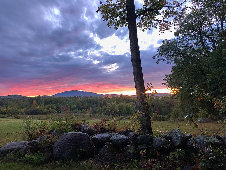 Conserved land with Mount Monadnock on horizon at sunset