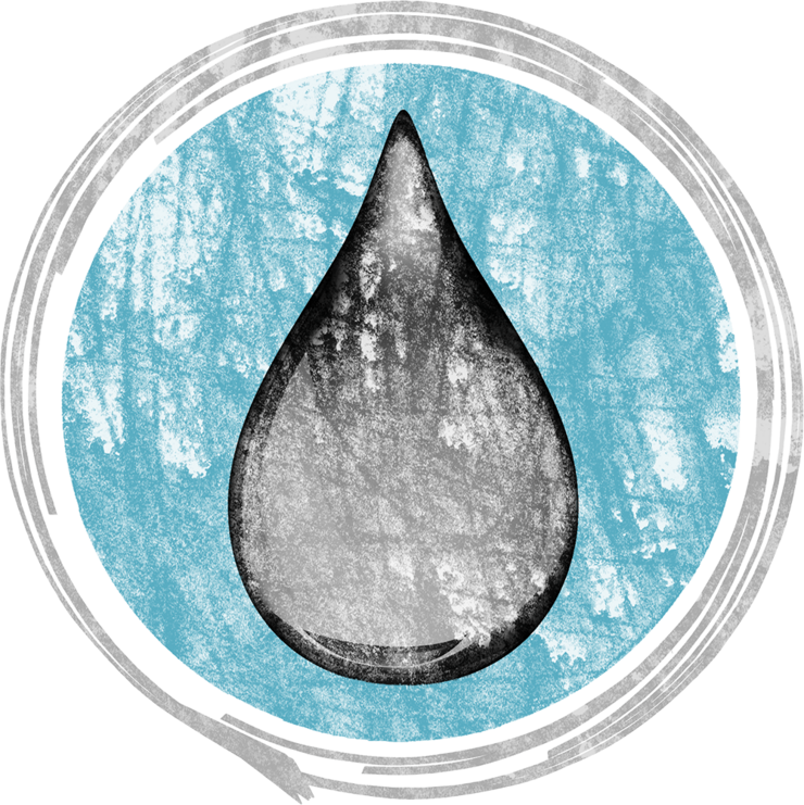 Stylized illustration of a water drop