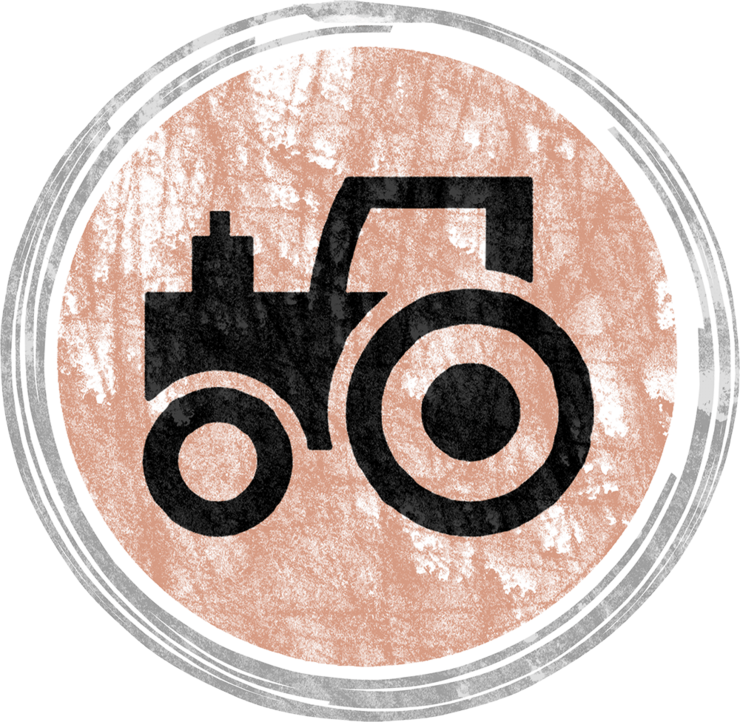 Stylized illustration of a farm tractor