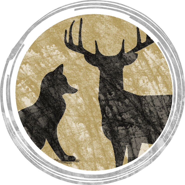Stylized illustration of a fox and a buck white-tailed deer