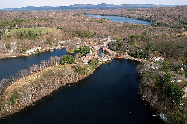 Aerial view of Harrisville village surrounded by ponds