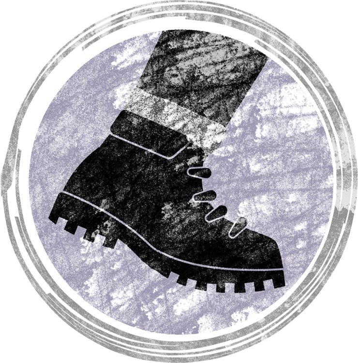 Stylized illustration of a hiking boot