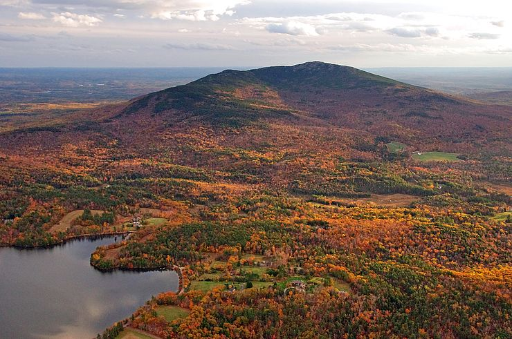 Aerial view of Mt. Monadnock in autumn