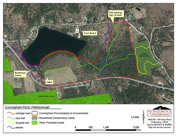 Map of Cunningham Pond showing trails and the new property to be conserved.
