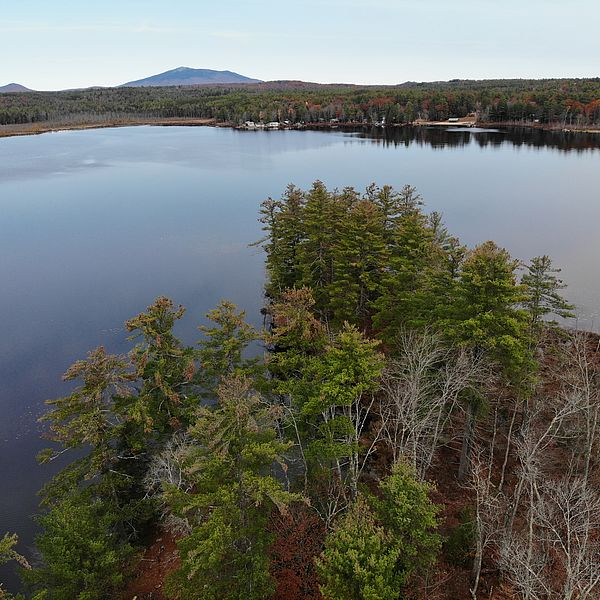 Aerial view of Sip Pond peninsula and Mount Monadnock on the horizon
